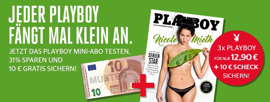 Playboy Mini Abo 3 Hefte mit 10€ Verrechnungsscheck für effektiv 2,90€