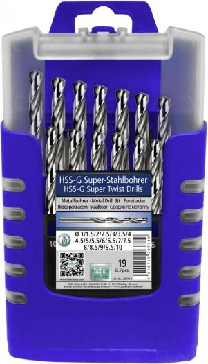 Heller HSS Metall-Spiralbohrer-Set 19teilig Ø 1 - 10 mm in 0,5 mm Schritten aufsteigend