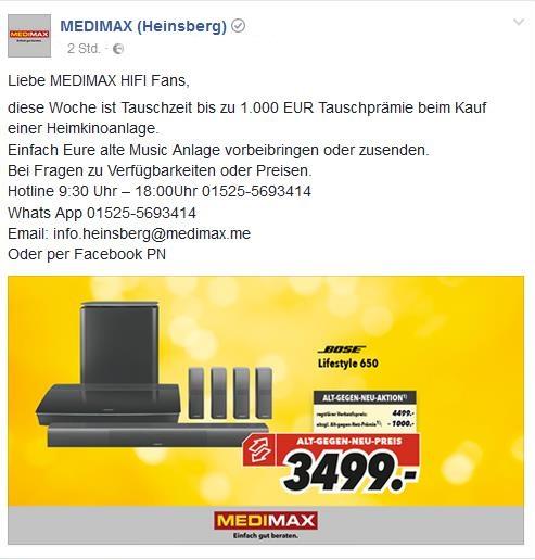 Bose Lifestyle 650 Heimkino System mit 1000,- sofort Rabatt als Alt gegen Neu
