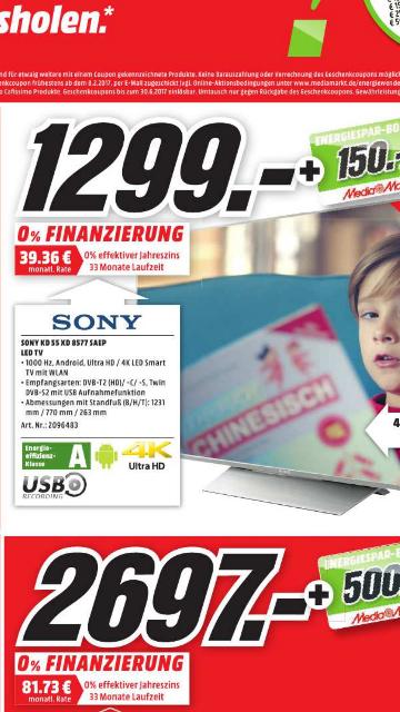 (lokal)  Media Markt Kassel SONY KD-55XD8577 +150€ Coupon