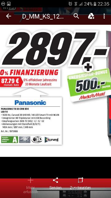 (LOKAL)  Media Markt Kassel TV PANASONIC TX-65CRW854  + 500€ Gutschein  Idealo 4540€