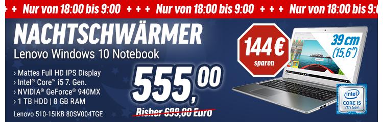 """[NBB] Lenovo 510-15IKB 80SV004TGE 15.6"""" Full HD IPS, Core i5-7200U, 8GB RAM, 1TB HDD, GeForce 940MX 4GB, W10, ab 18 Uhr"""