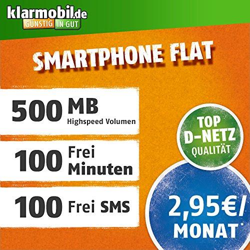 Smartphone Flat M mit 500 MB Internet Flat max. 7,2 MBit/s, 100 Frei-Minuten & 100 SMS