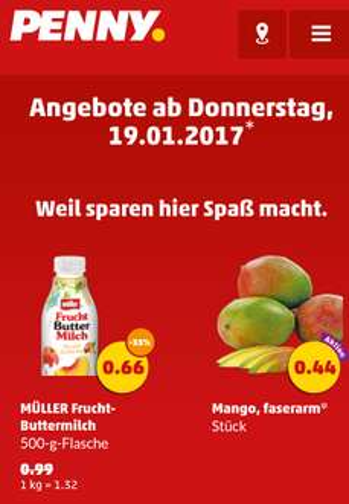 [Penny] Ab Donnnerstag 19.01.17 Mango faserarm pro Stück 0,44 Euro