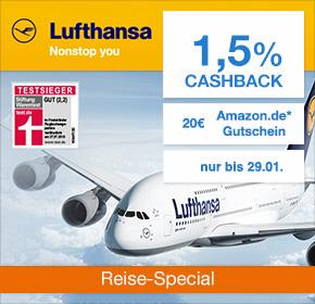 (Shoop) Lufthansa: 1,5% Cashback + 20€ Amazon Gutschein