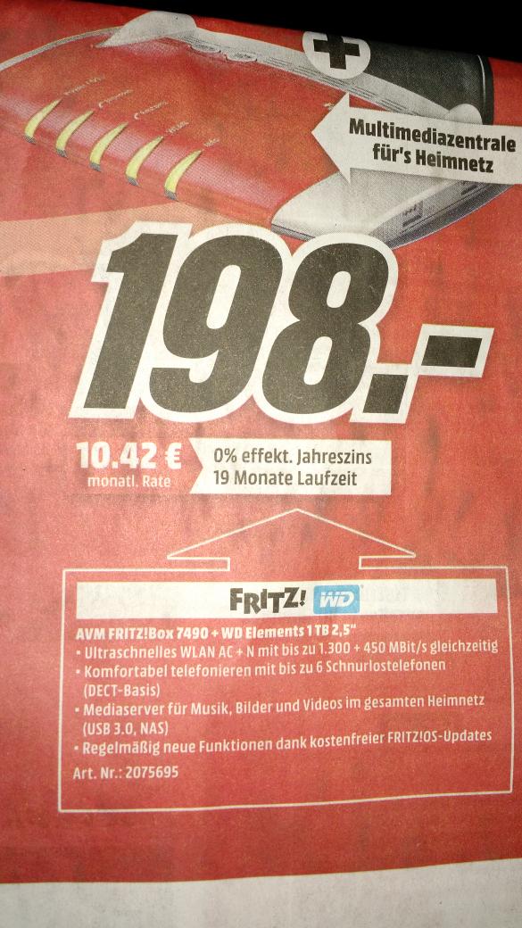 """AVM Fritzbox 7490 + WD Elements 1TB 2,5"""" für 198€ [Media Markt bundesweit ab Mittwoch]"""