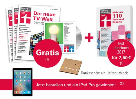 [Stiftung Warentest] 3 Ausgaben, Testjahrbuch 2017 & Archiv CD 2016 für 7,50€