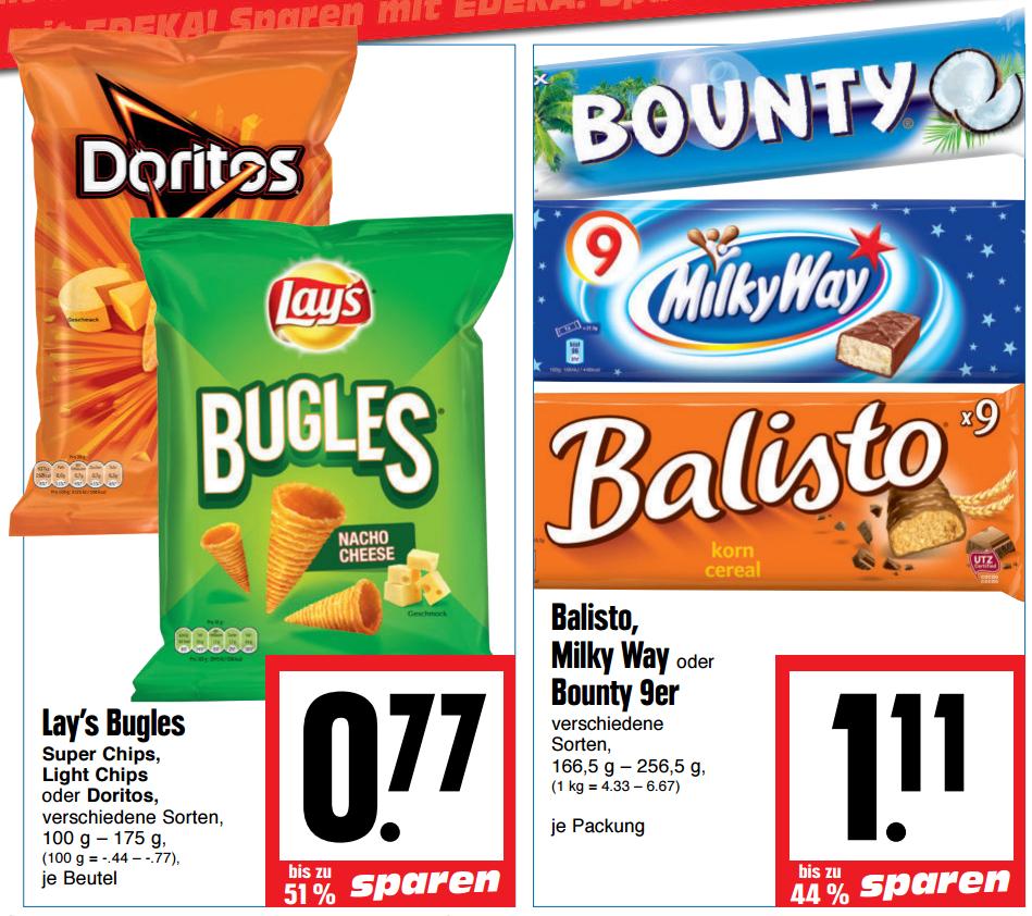 Bugles / Doritos für 0,77€ || Balisto/Milky Way/Bounty 9er für 1,11€ [RATIO + Marktkauf Hessen + Edeka Hessenring]