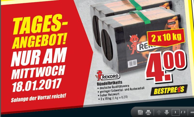 [B1-Discount] Bündelbriketts 2x10KG 0,20€ pro Kg 18.01.2017