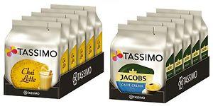 5 Pack. Tassimo T-Disc Chai Latte oder Caffé Crema mild
