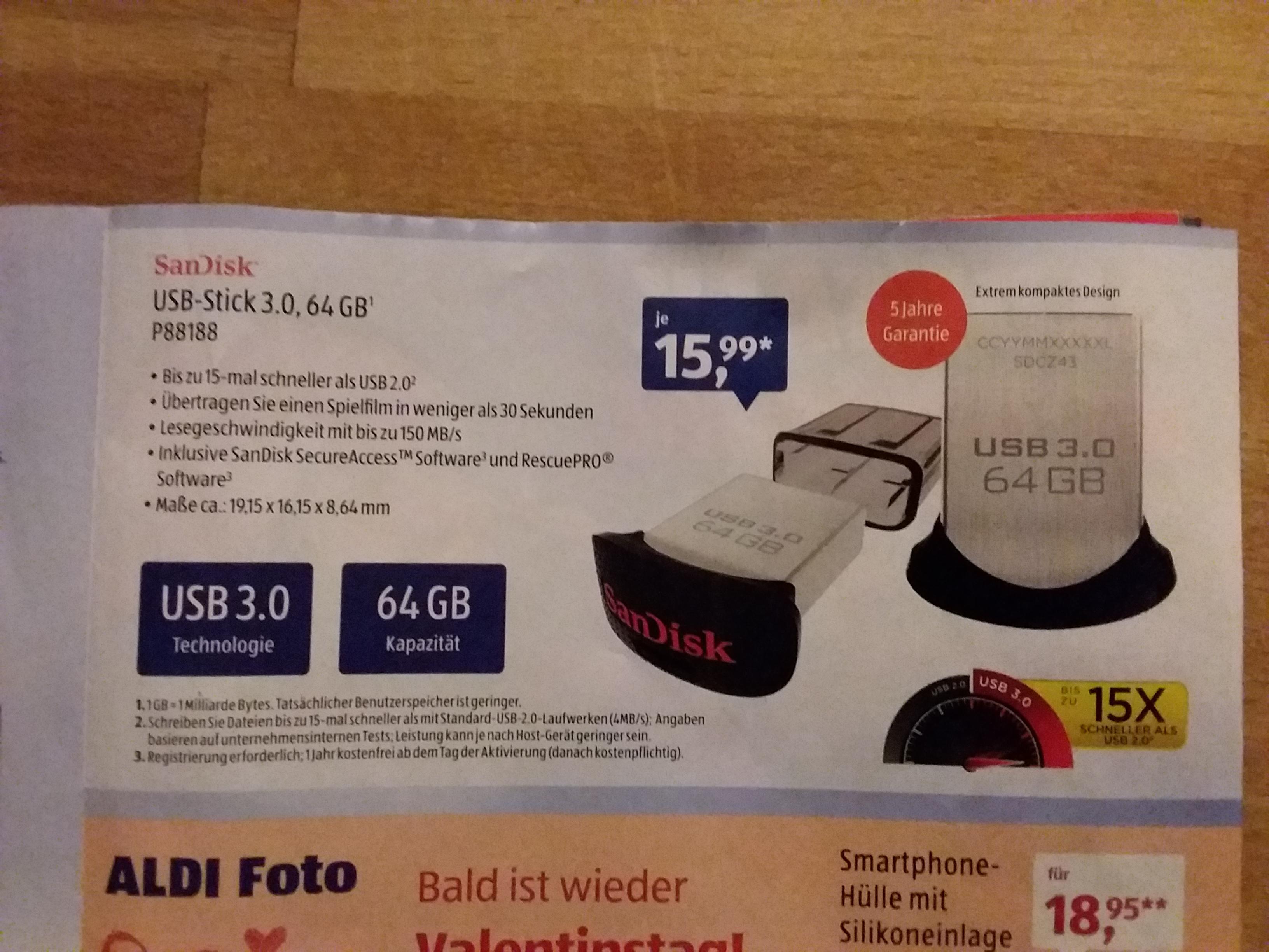 Sandisk USB-Stick 3.0, 64 GB Aldi Süd ab 26.01.