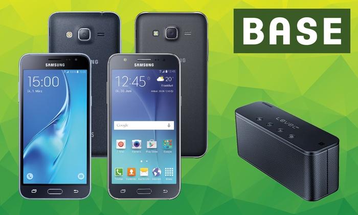 [Groupon/Handyflash] BASE pur Allnet Flat mit 3 GB LTE für mtl. 14,99 €* + Samsung Galaxy Smartphone ab 1 € Zuzahlung** + Samsung Level-Box mini