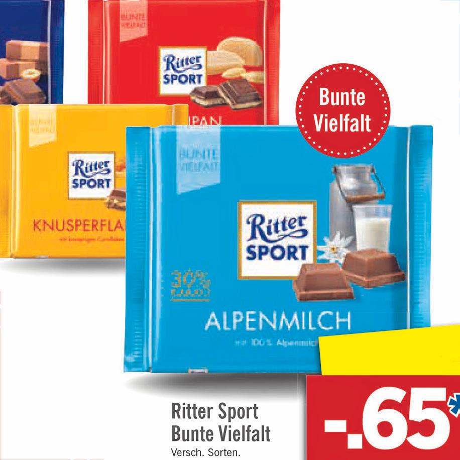 Ritter Sport 100g verschiedene Sorten für nur 65 Cent bei (Lidl)