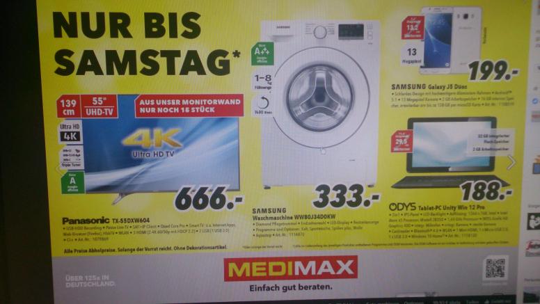 TX55DXW604 und WW80J34DOKW als Schnäppchen bei Medimax in Bochum