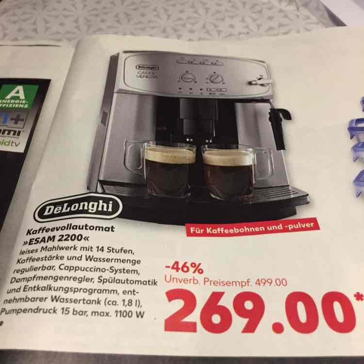 [Kaufland] Kaffeemaschine Delonghi ESAM 2200 ab 19.01.2017