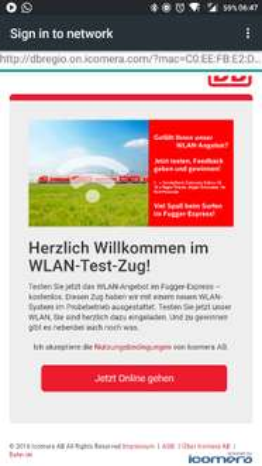 Gratis WLAN im DB Fugger Express [Regional Bayern]
