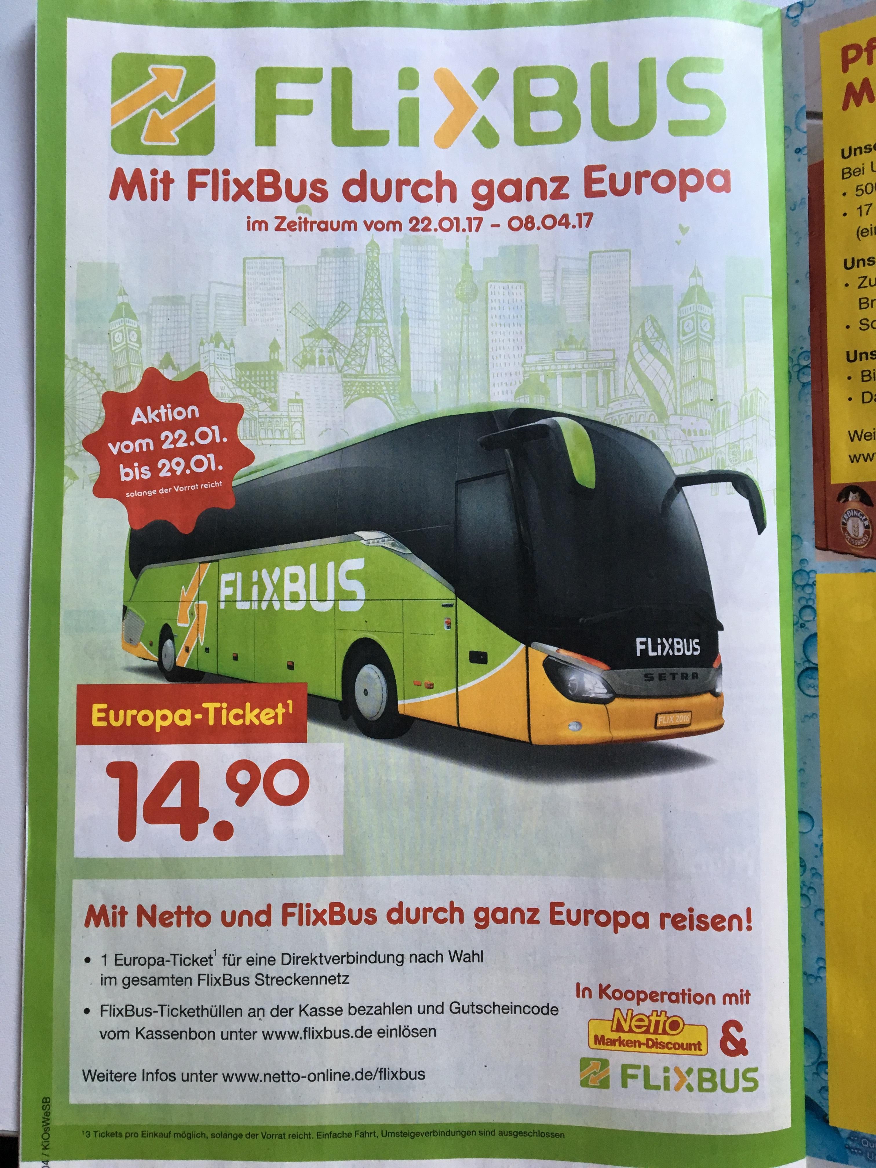 Flixbus Europa-Ticket: für 14,90 durch ganz Europa Reisen