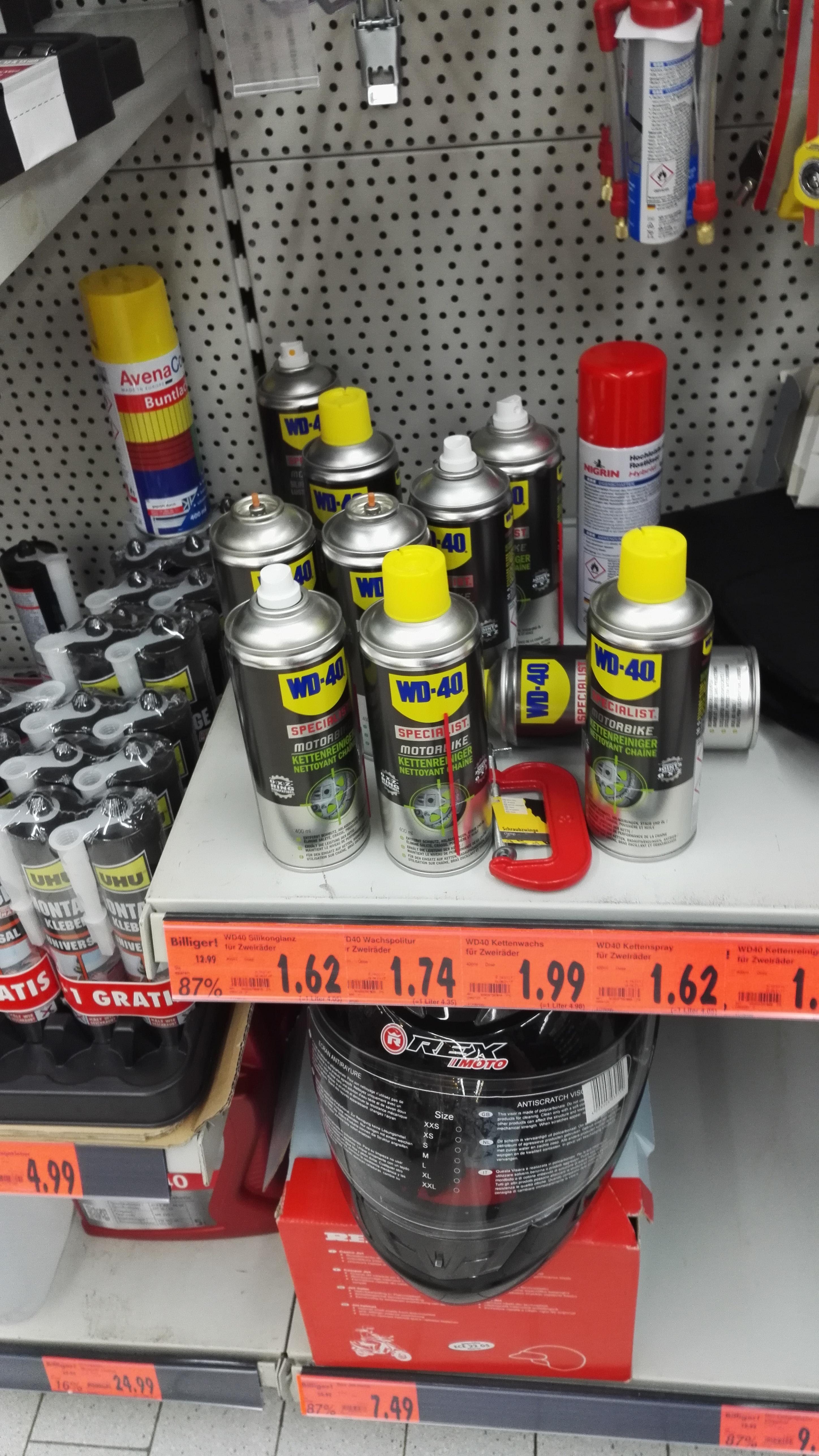 [Lokal LB Kaufland] diverses Motorradzubehör (z.B. WD40 Sprays bis zu 80% unter Idealo)