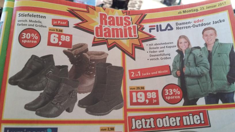 Ausverkauf bei Thomas Philips ab Montag 23.01. Frauen Stiefeletten (6,98)+Fila Outdoorjacke 2+1(19,98)