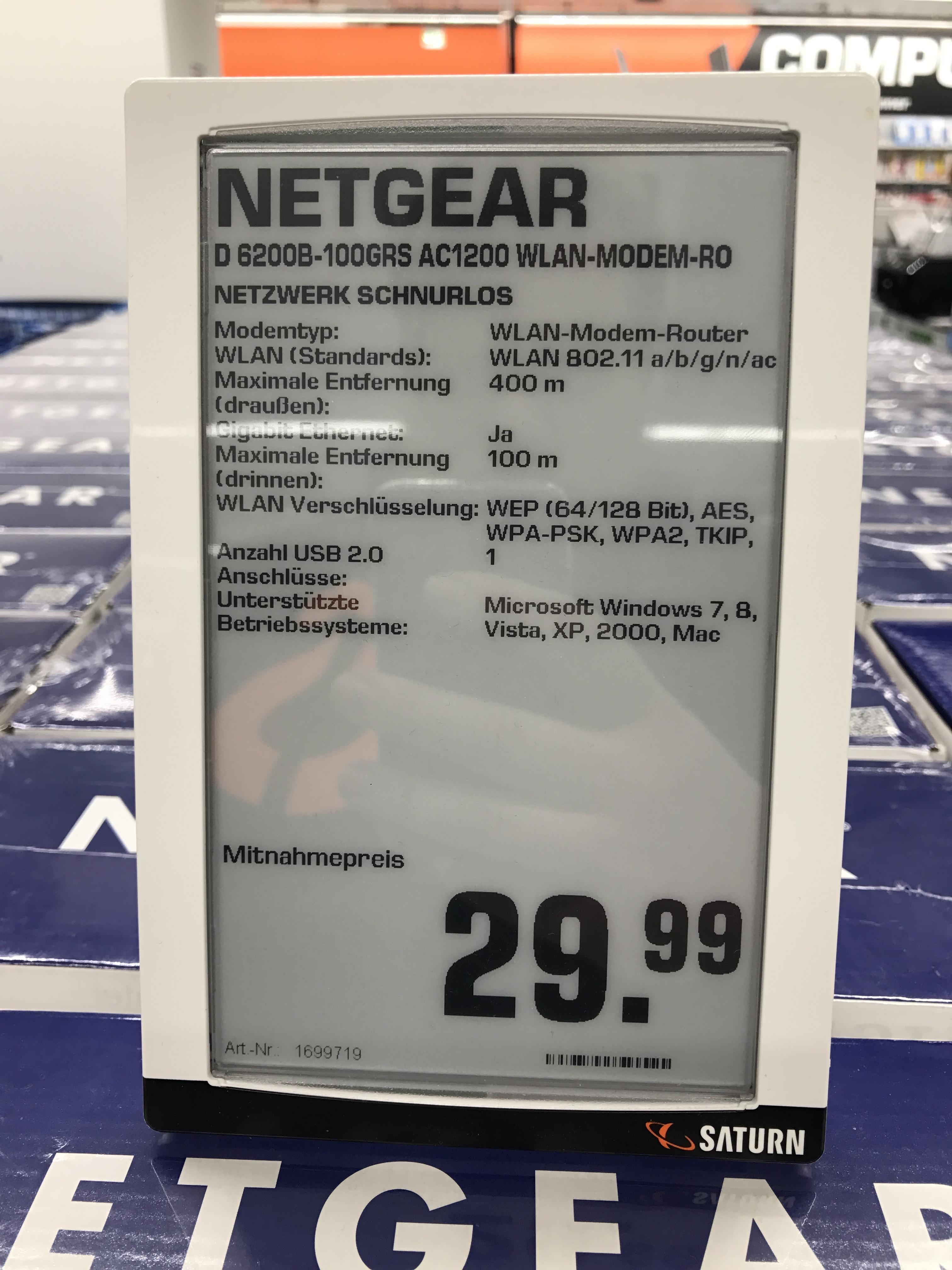 [Lokal] Saturn Ludwigsburg Netgear D6200B Wlan Modemrouter 29,99€ Idealo: 95,99€