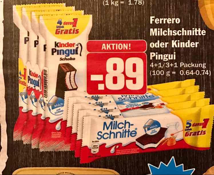 Ferrero Milchschnitte oder Kinder Pingui für 0,89€ bei HIT