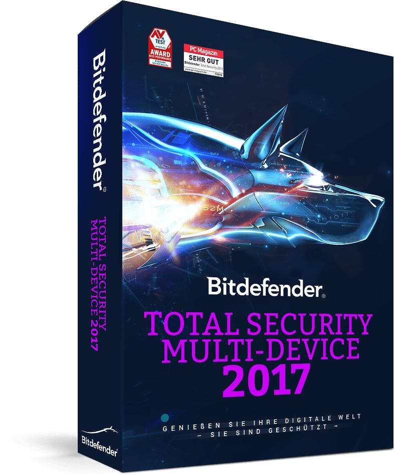 Bitdefender Total Security Multi-Device 2017 (bis zu 5 Geräte, 1 Jahr ) 15,68 €