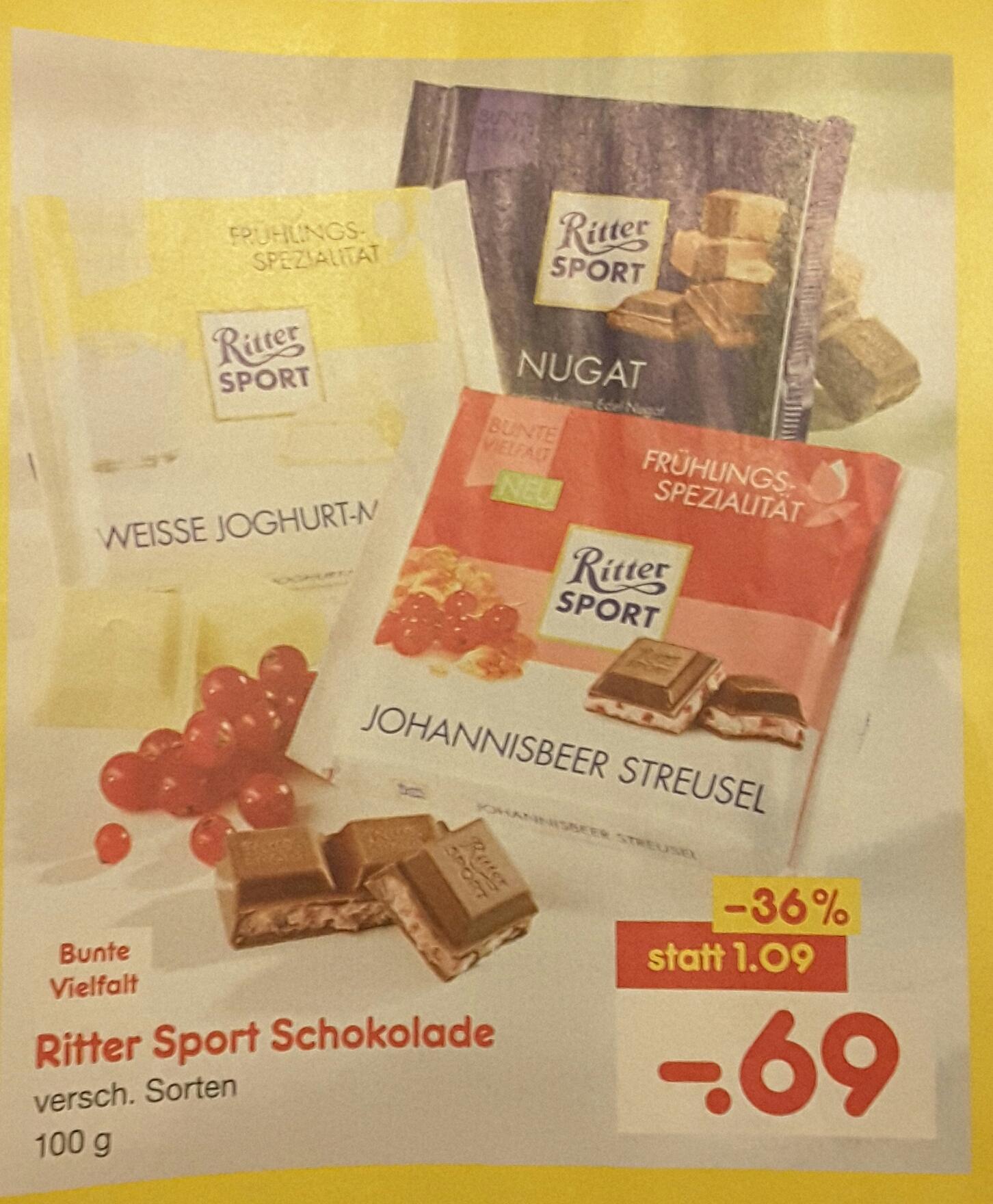 Ritter Sport verschiedene Sorten bei Netto