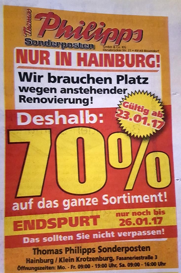 [63512 HAINBURG] 70% auf Alles bei Thomas Philipps (23.-26.01.2017)