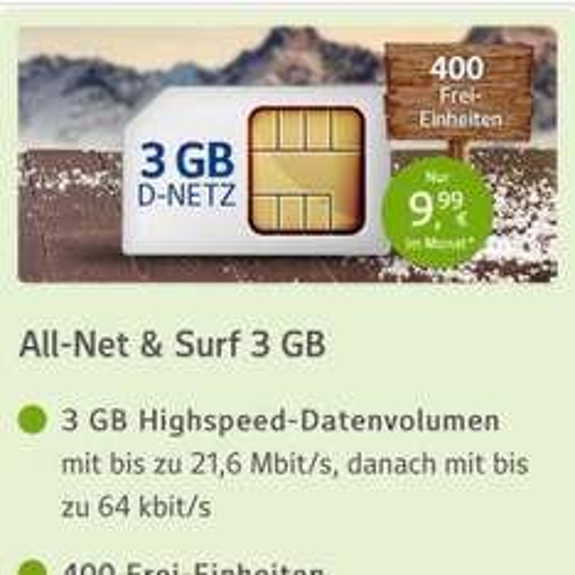 3gb 400 Freieinheiten 9,99€ + 10€ wechslerbonus + 30€ Startguthaben für Web.de clubmitglieder