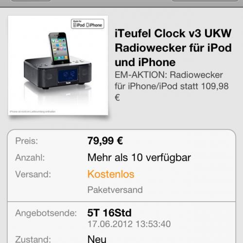 iteufel clock iphone dockingstation mit radio. Black Bedroom Furniture Sets. Home Design Ideas