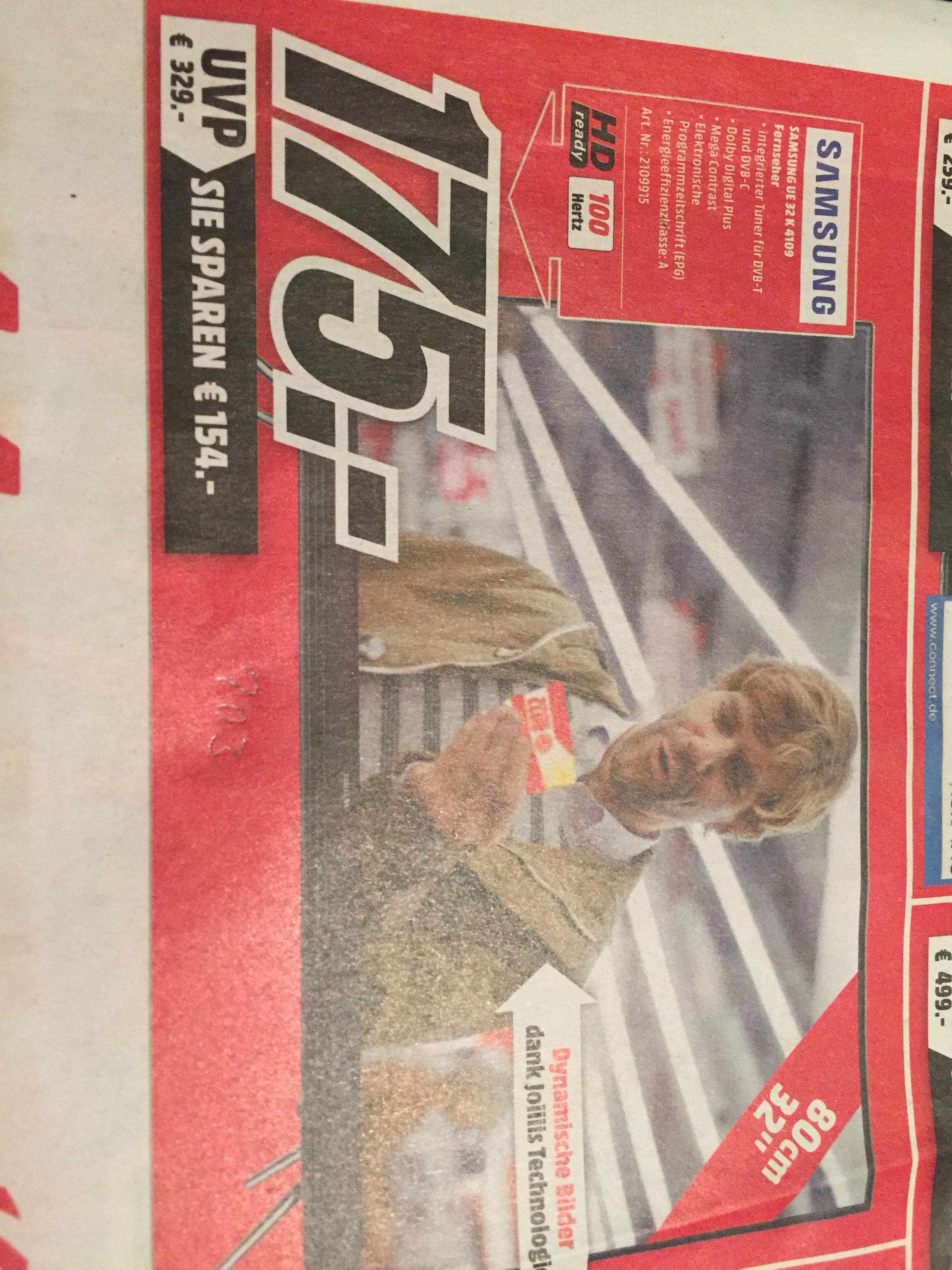 MediaMarkt Mannheim/Ludwigshafen - TV 175,00€ - Samsung UE 32 K 4109 - Gilt nur MORGEN am 23.01.2017