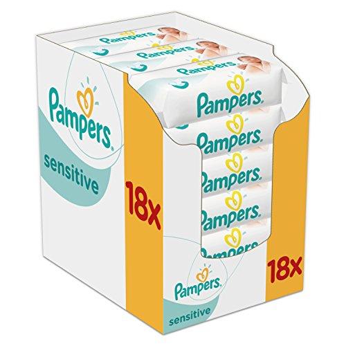 Pampers Feuchttücher Sensitive 3-Monatspack, 1008 Tücher (18 x 56 Stück) *Prime benötigt*