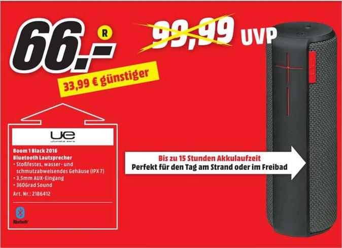 [Lokal Mediamarkt Würzburg/Schweinfurth/Bad Neustadt] Ultimate Ears UE BOOM 1 Bluetooth Lautsprecher Schwarz für 66,-€
