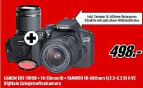Canon EOS 1300d + 18-55mm III + Tamron 18-200mm F/3,5-6,3 DI II VC Spiegelreflexkamera MediaMarkt