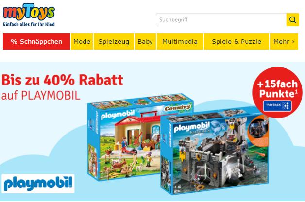 [MyToys.de] Playmobil bis 40% und 15 fach PayBack Punkte, + (10% Newsletter Anmeldung)