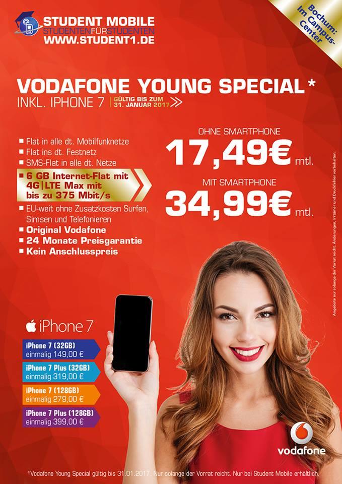 Vodafone Young Special / 17,49€ monatl. / 6 GB LTE, Allnet-Flat & EU-Flat