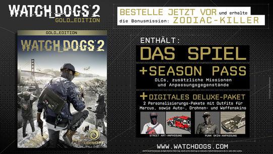 Watch Dogs 2: Standard Edition oder Watch Dogs 2: Gold Edition (Grundspiel + Season Pass) kaufen und Watch Dogs: Dedsec Edition kostenlos dazu bekommen [Ubisoft]
