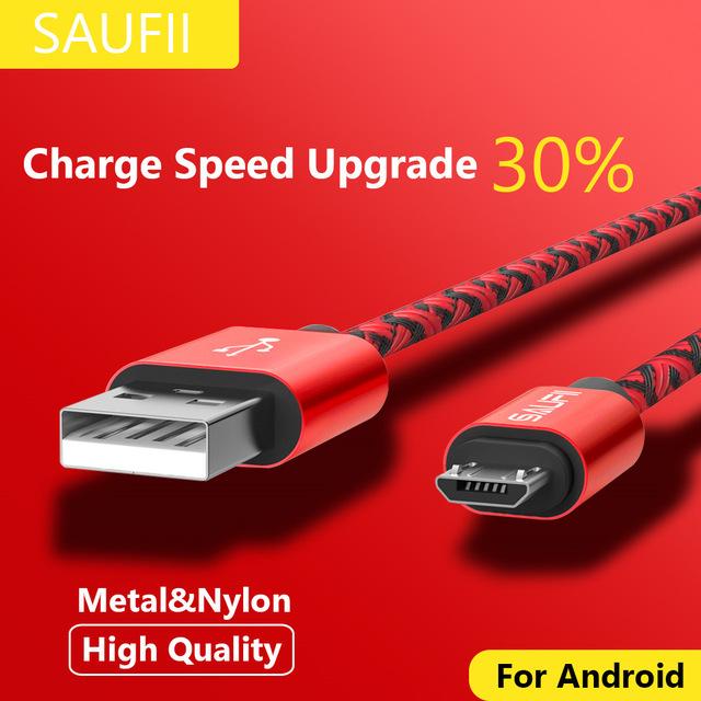 Original SAUFII 2A Nylon Micro USB Cable mit Quick Charger 0,25m - 1m -> Blau, Schwarz, Weiß, Gold, Pink