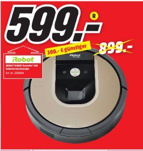 [Lokal Mediamarkt Köln-Kalk] IROBOT Roomba 966 Saugroboter, Schwarz/?Braun für 599,-€