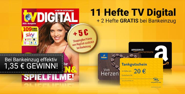 TV Digital XXL. 13 Ausgaben + 20€ Amazon oder Tankgutschein + 5€ Shoppinggutschein bei Bankeinzug. Effektiv mit 1,35€ Gewinn. Kündigung Notwendig