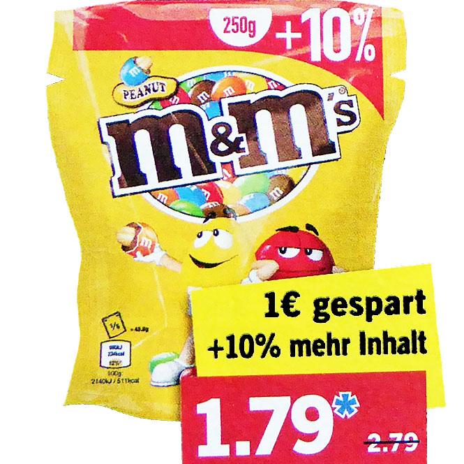 M&Ms (+10%) in der 275g Packung für nur 1,79 bei (Lidl)