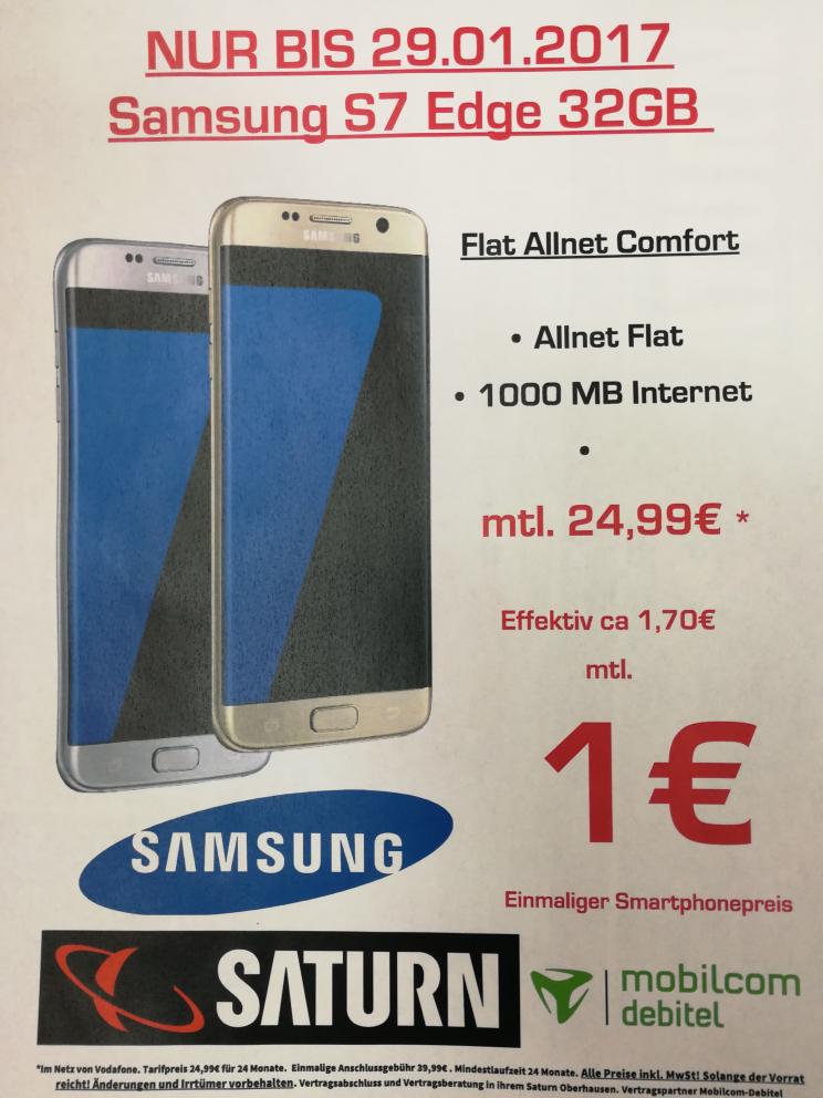 Samsung S7& S7 edge lokal Saturn Oberhausen(Vllt.  Auch National)