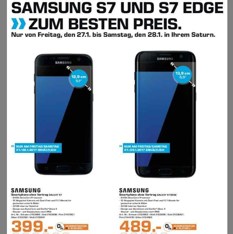 Samsung S7 für 399€ und Samsung S7 Edge für 489€ ( Lokal: Saturn Skyline Plaza & MyZeil )