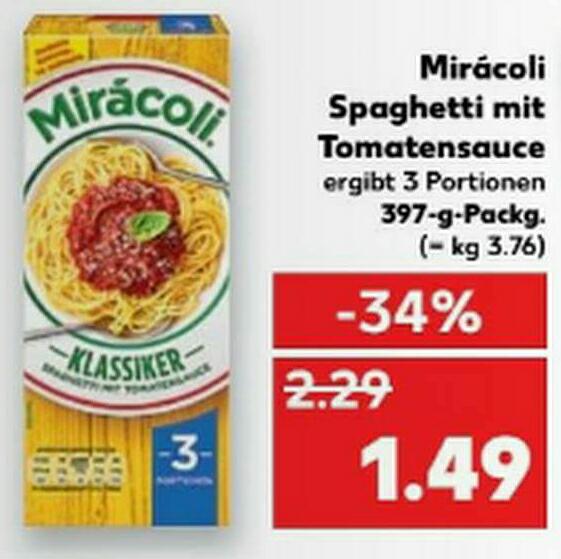 [Kaufland] MIRACOLI Spaghetti für 49 Cent nach Couponabzug ab 06.02.