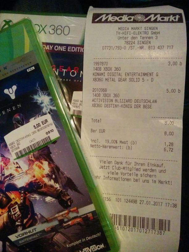 [Singen] Mediamarkt Xbox360 MGS5 3€ & Destiny 5€
