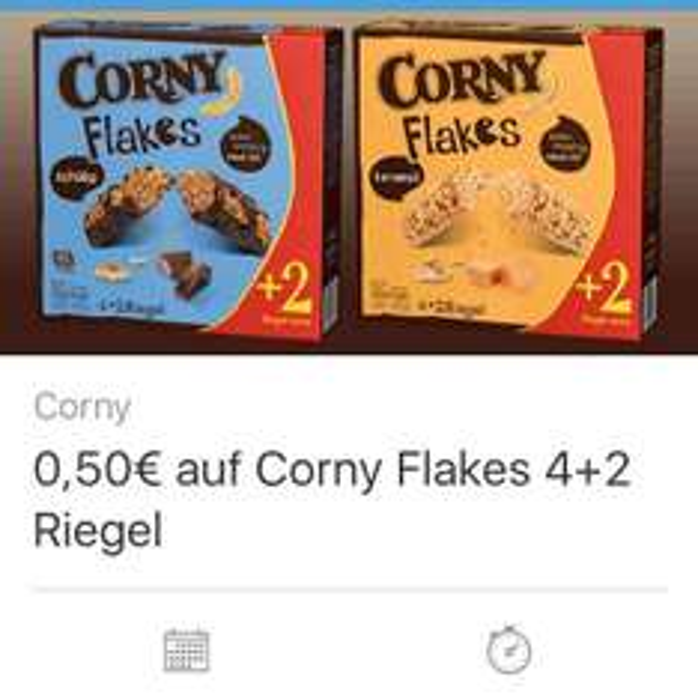 [Coupies App] Corny Flakes 4+2 Riegel 50ct Cashback