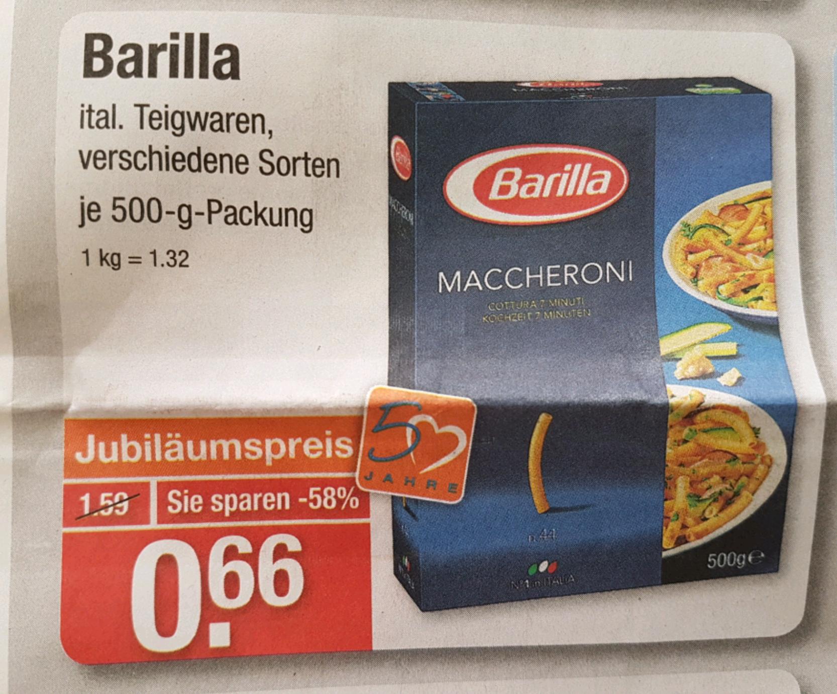 [V-Markt] Barilla Teigwaren 500g für 0,66€