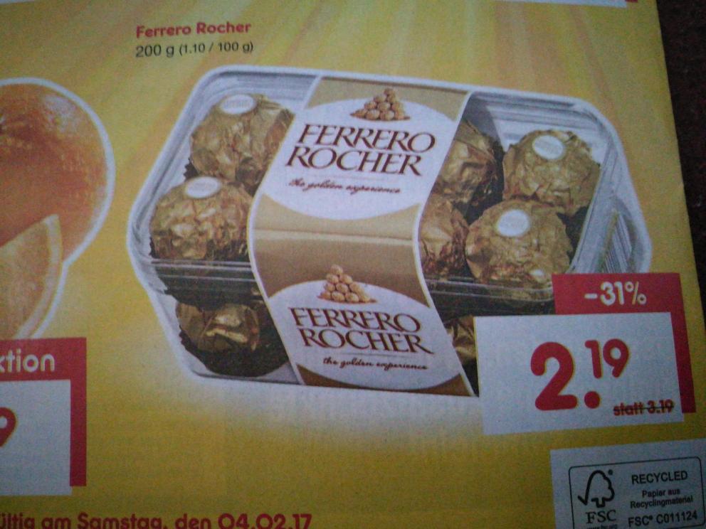 Ferrero Rocher für 2,19€ bei Netto (ohne Hund)