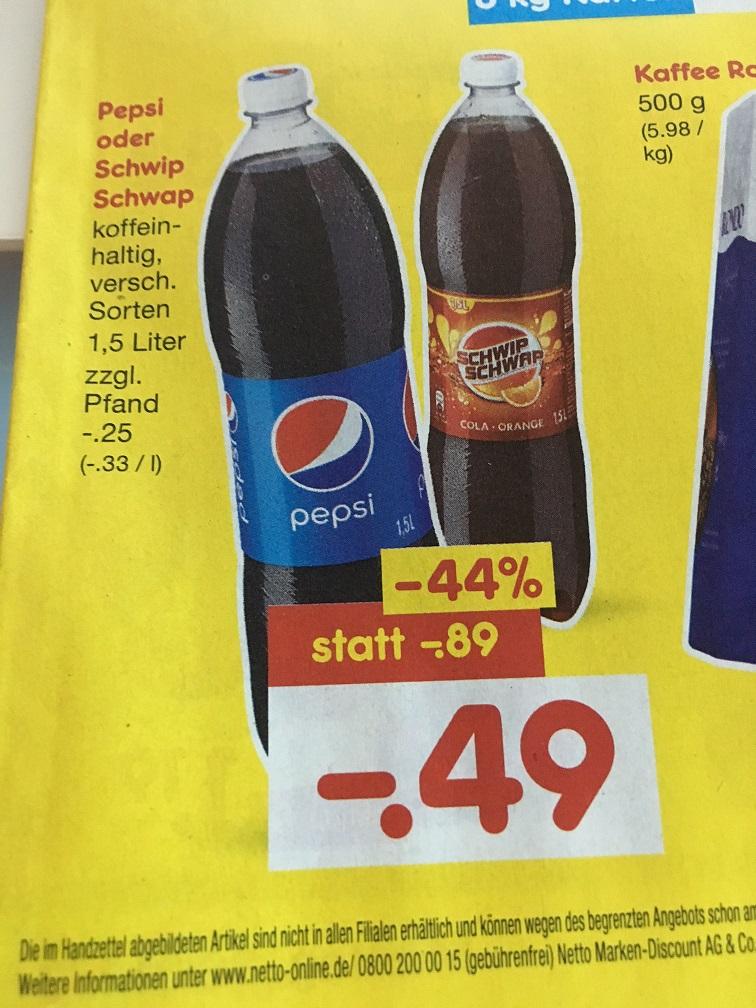 Pepsi, Pepsi light oder SchwipSchwap - 1,5 Liter Flasche 0,49€ (~ 0,33€/l) bei Netto Markendiscount