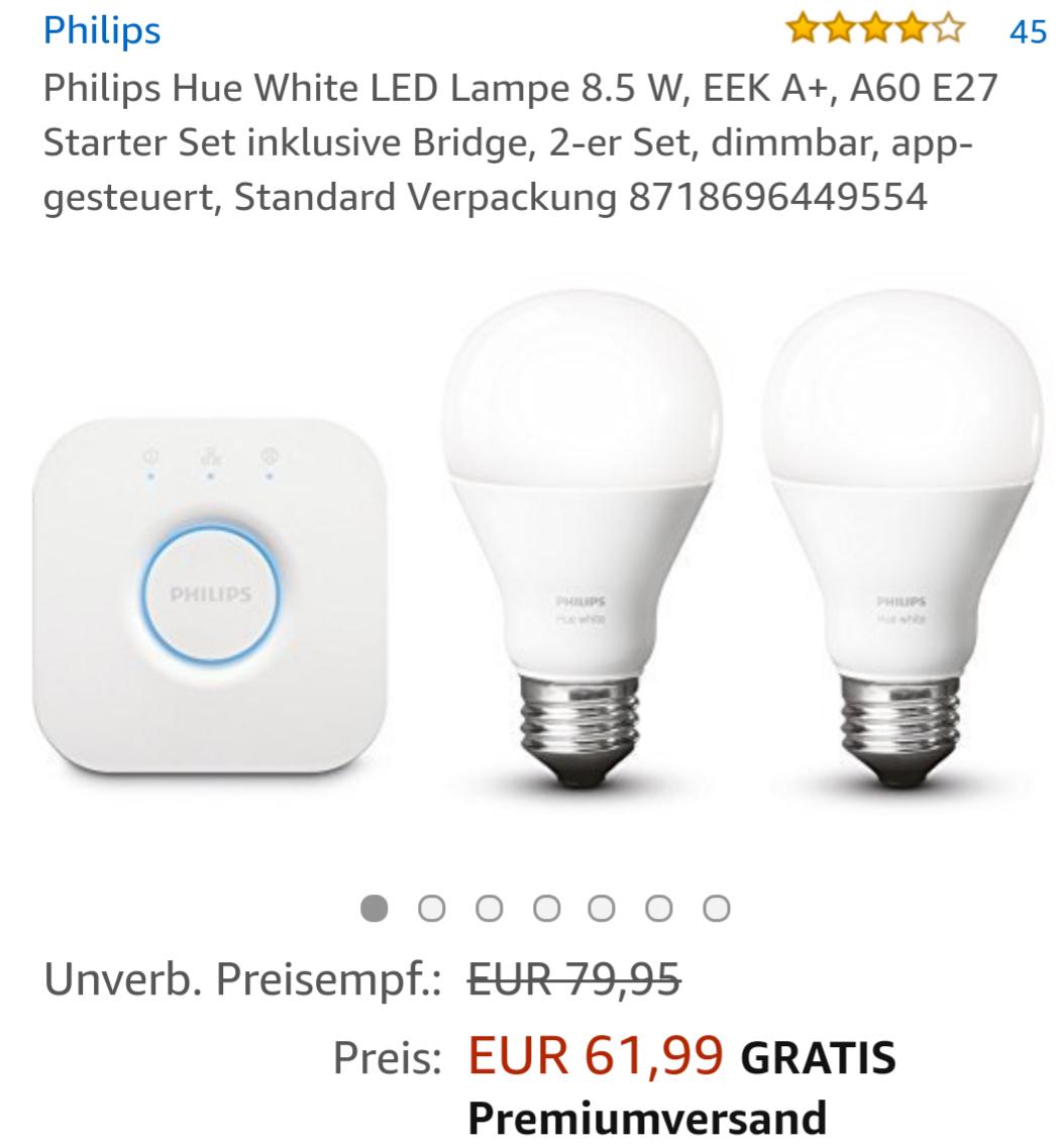Philips Hue White LED Lampe 8.5 W, EEK A+, A60 E27 Starter Set inklusive Bridge, 2-er Set